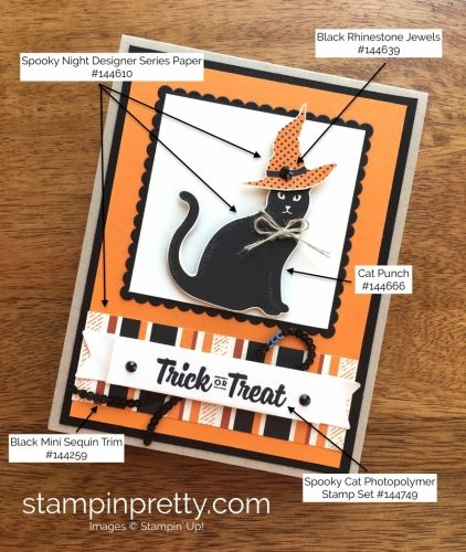 SNEAK PEEK from the Stampin' Up! Holiday catalog of the Cat Punch & Spooky Night DSP. Read more https://stampinpretty.com/2017/08/new-cat-punch-cats-meow.html