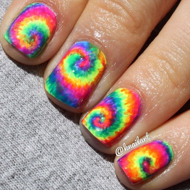 Top 10 Summer Nails For This Season--Make a loud statement this Summer with  neon rainbow tie dye nail art. It's colourful, cheerful and they will fit  with ... - Best 25+ Tie Dye Nails Ideas On Pinterest Hippie Nail Art, Funky