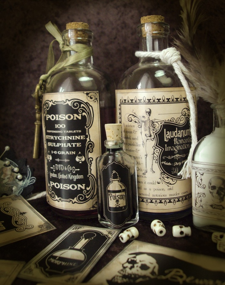 Halloween Apothecary Victorian Poison Labels Part 1 of 3 Stickers. $4.75  This ENTIRE Etsy shop is AMAZING