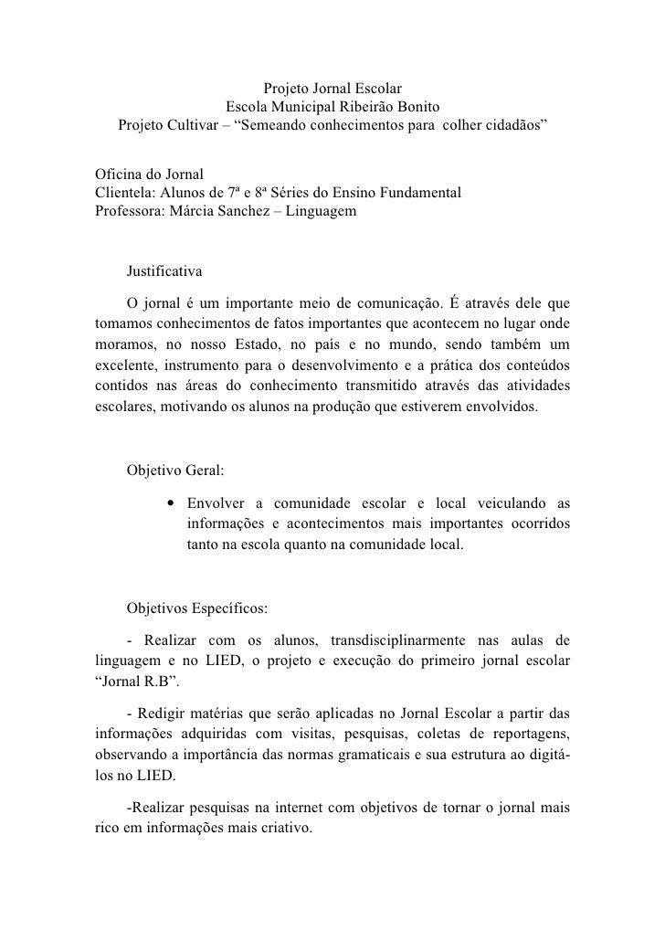 """Projeto Jornal Escolar                      Escola Municipal Ribeirão Bonito     Projeto Cultivar – """"Semeando conhecimentos ..."""