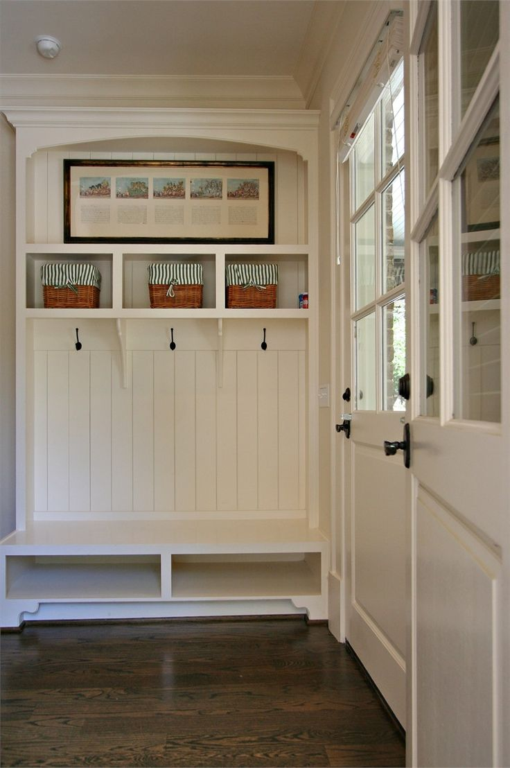 Mudroom lockers with doors - Like The Look Of The Wood Paneling And Back Door And Hardware For Back Entry I Really Like The Back Door All Of The Wood Trim Is Benjamin Moore S Linen