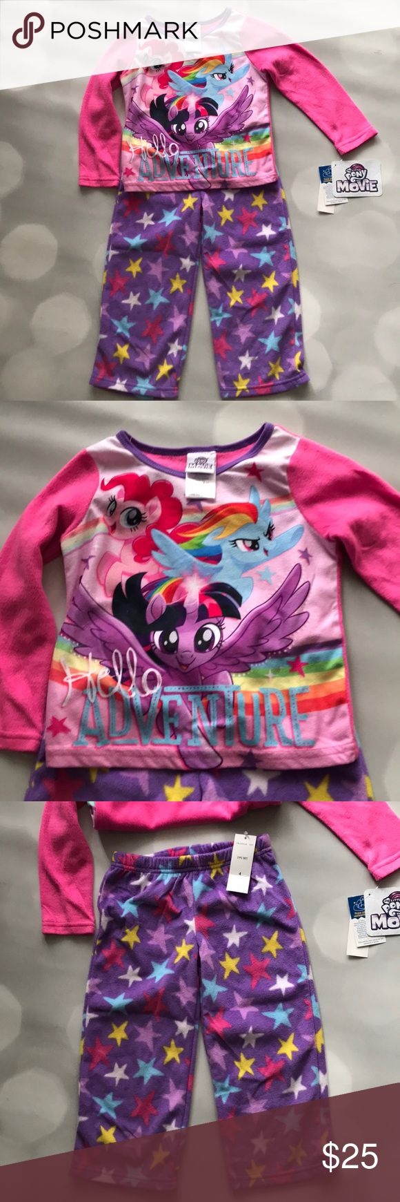 My Little Pony • fleece pajamas • my little pony the movie  • really soft and comfy fleece • size 4 Girls • brand new with tags  • flame resistant  😍 My Little Pony Pajamas Pajama Sets