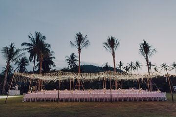 Photo from Polly & Nick collection by Eric Ronald #thailand #destinationwedding #lights #palmtrees #kohsamui #thailandwedding #samujana