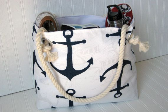 Searching for a nautical tote? Try my best seller rope handled navy anchors tote bag! Now available with monogram. Maritime nautical drawings are the