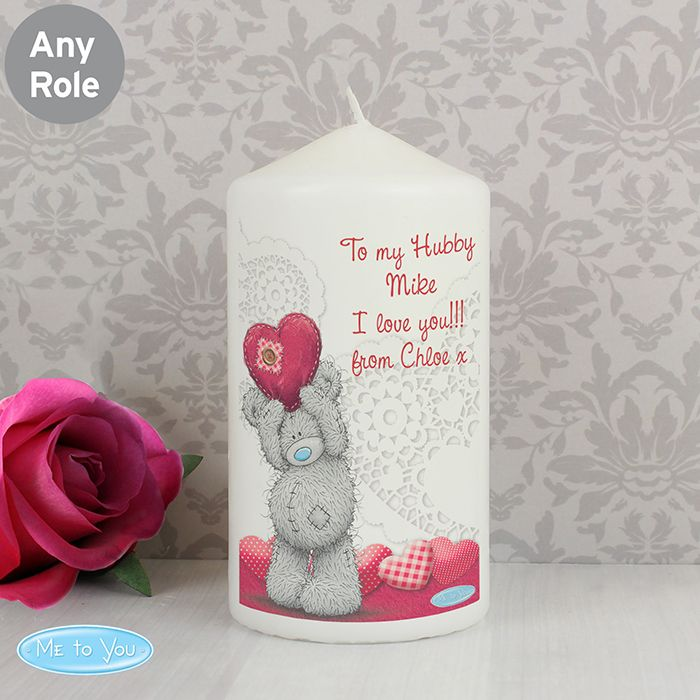 Personalised Me To You Heart Candle This Me To You Candle comes in an organza bag and can be personalised with 4 lines of text up to 15 characters per line. All personalisation is case sensitive and will appear as entered. £10.99