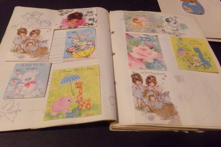 Vintage Scrapbook of greeting cards baby shower pictures snoopy baby book boy 69 | eBay