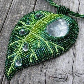 beaded leaf, from Mischka.