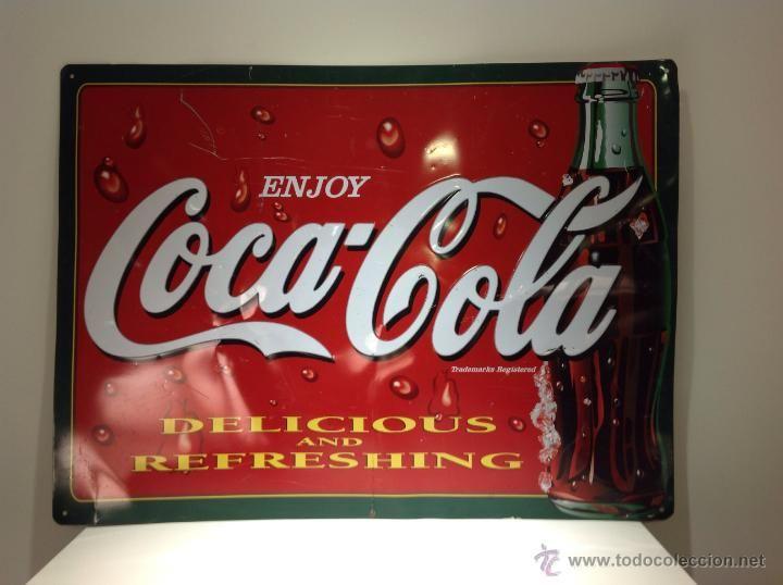 Cartel de chapa de coca cola delicious and refreshing - Chapa coca cola pared ...