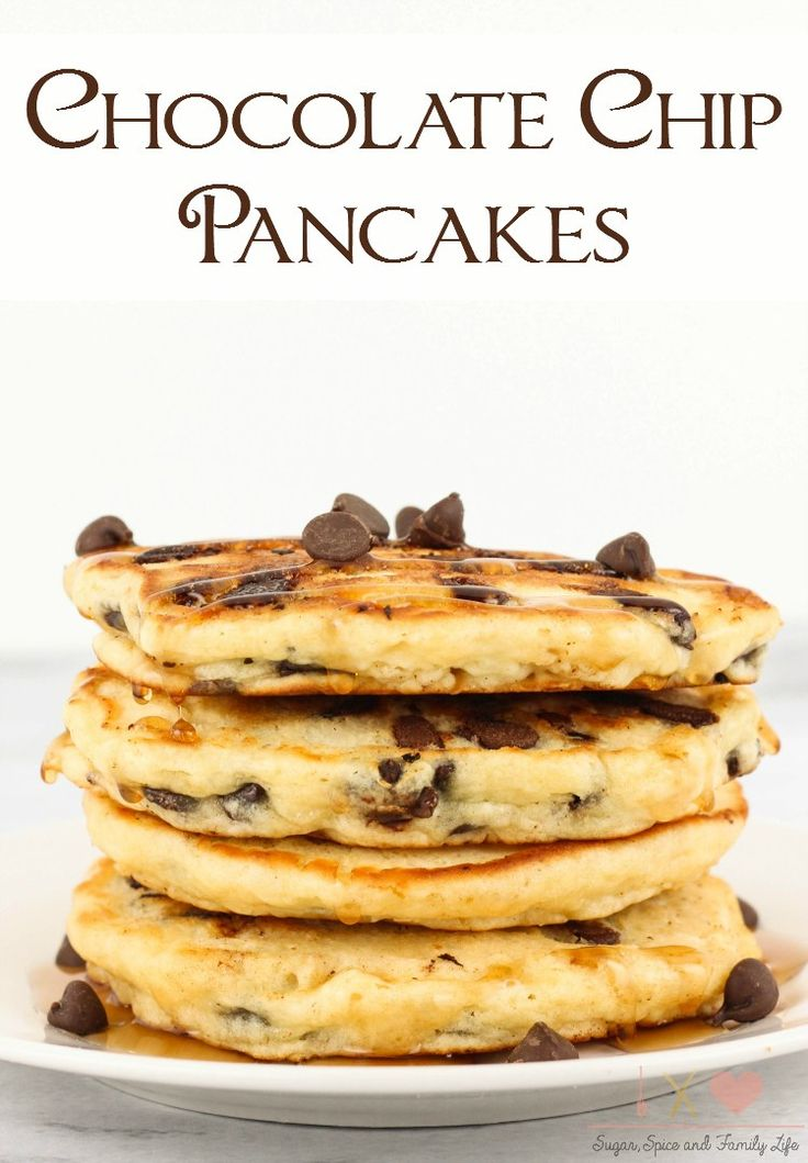 Chocolate Chip Pancakes are a delicious breakfast that the whole family will enjoy. These kid friendly pancakes will also be a big hit with chocolate lovers.  Chocolate Chip Pancakes Recipe on Sugar,