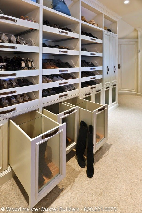 master closet/dressing room:  shoes and boots storage
