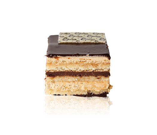 Opera Slice - An almond sponge layered with coffee butter cream, chocolate ganache and cointreau liqueur