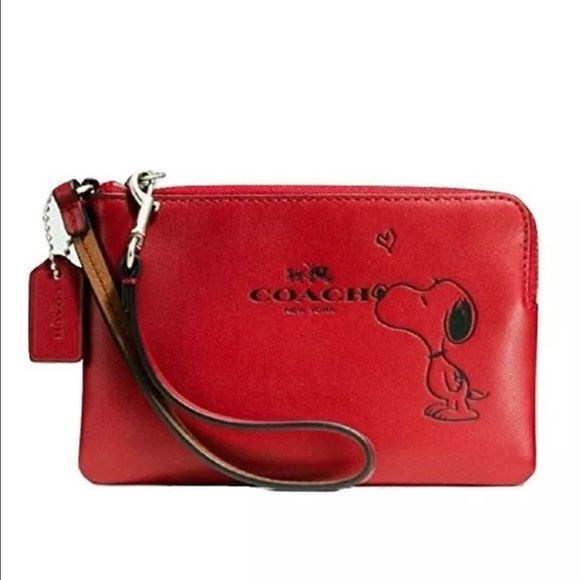 2X HP NWT Coach Snoopy Wristlet Red Sold out in stores! Super cute red leather Wristlet. Check out my closet for other snoopy items. New with tags! Coach Bags Clutches & Wristlets