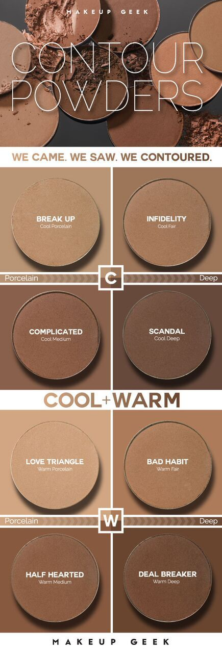 Super soft and buttery smooth, Makeup Geek Contour Powders blend like a dream and have been specifically designed to accommodate skin tone extremes + everything in between. Choose from a complete lineup of 8 unique shades—four with warm undertones and four with cool undertones. And of course, they're paraben free, cruelty free, talc free (great for sensitive skin!), and made in the USA.
