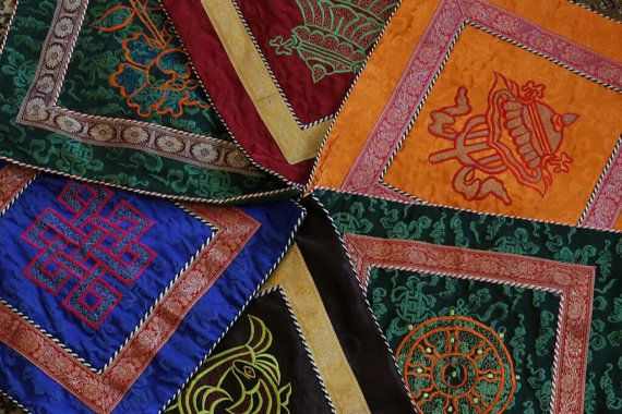 Silk and Brocade Tibetan Lucky Signs Cushion Cover Made By Tibetan Refugees