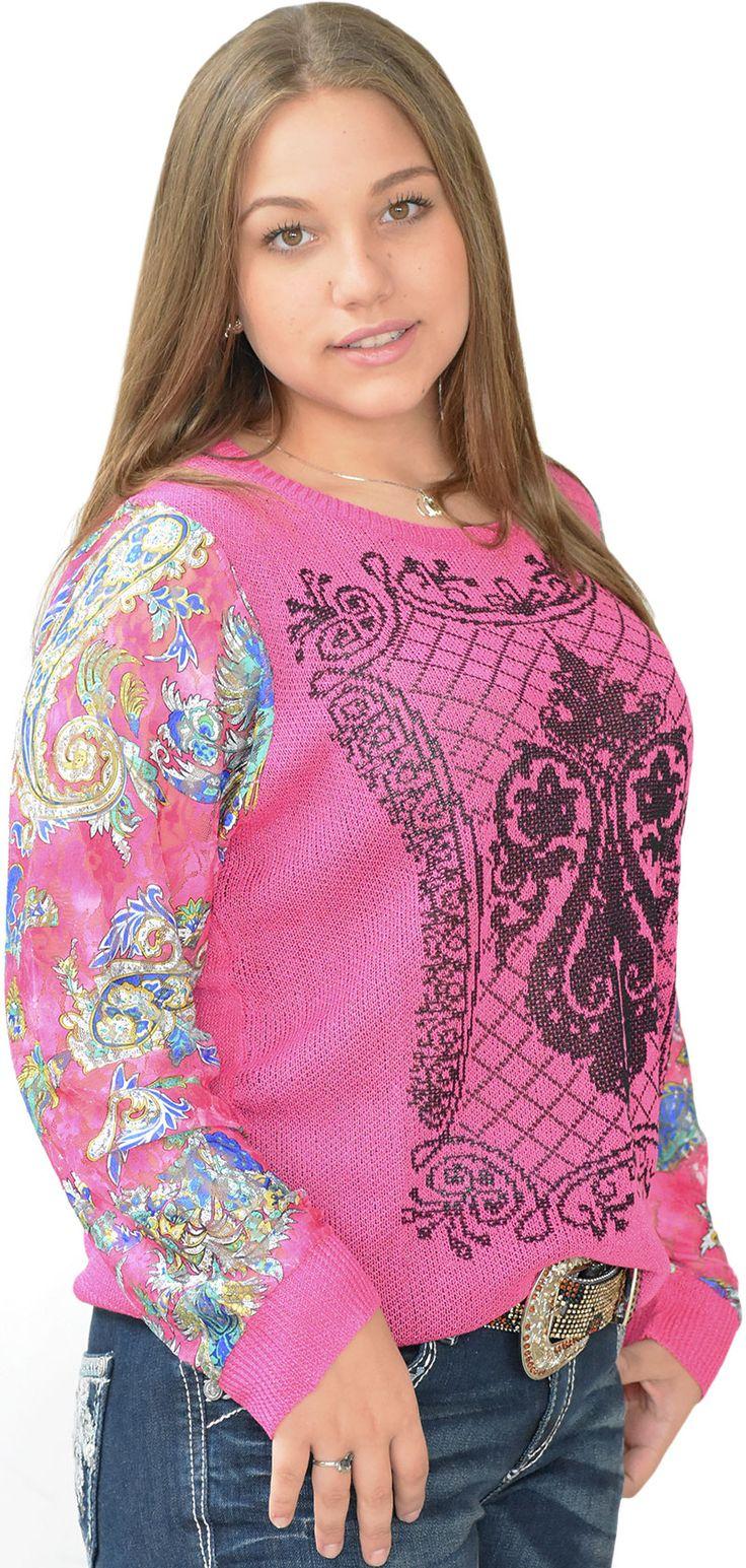 Blusa Feminina Manga longa Pink Linha e Renda    Blusinha feminina em rendas de Rayon e Polyester. Rendas de rosa e flores estilo Paisley com bordados em preto no tronco. Perfeita para usar como meia-estação, esta é uma peça chave para o seu look outono-inverno.