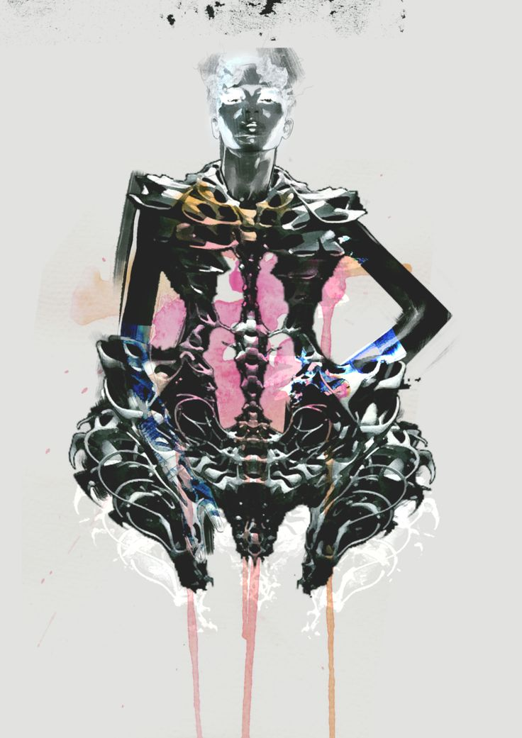 Iris Van Herpen skeleton dress Illustration
