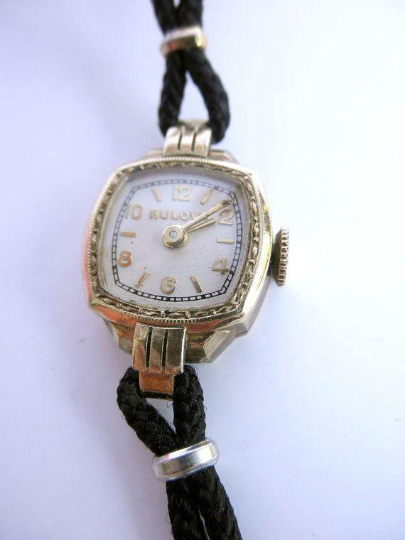 Vintage 1930s Bulova Ladies Gold Watch // Art Deco // Dress Watch via Etsy