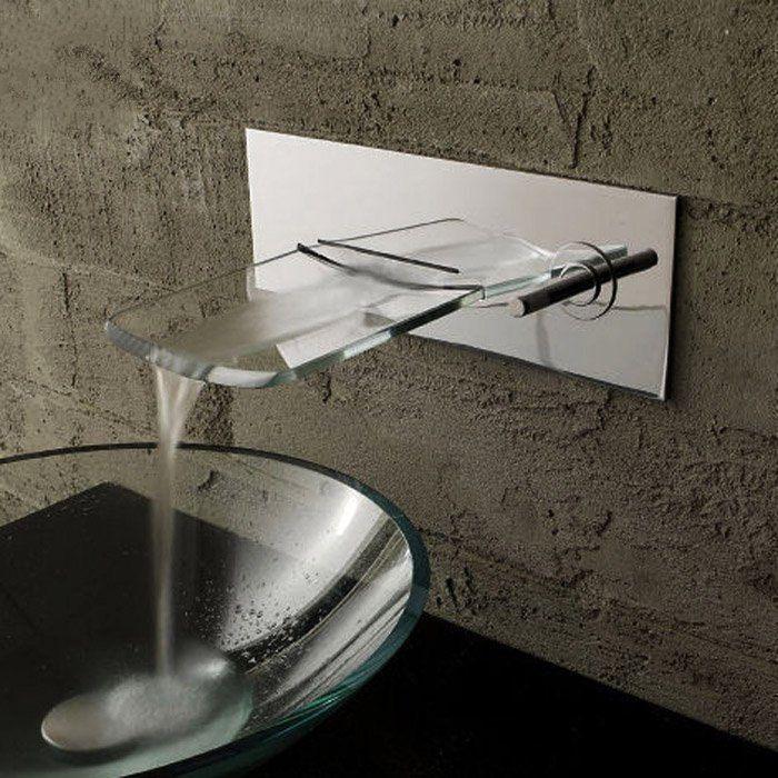 Gunstige Bad Wasserhahn Glas Wasserfall Wand Wasserhahn Bad Becken