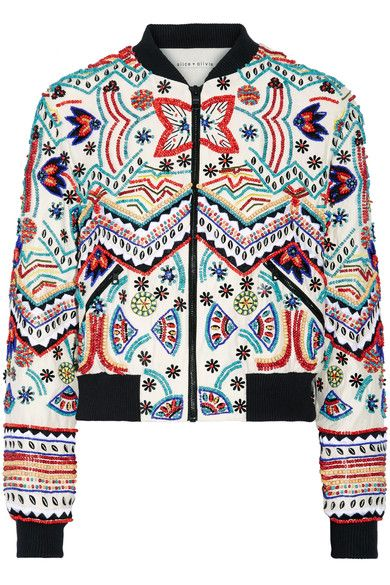 Alice Olivia - Lonnie Embellished Silk-chiffon Bomber Jacket - Cream