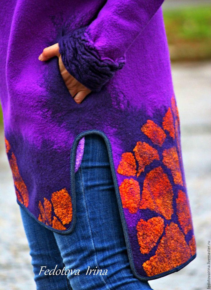 """Купить Платье-свитер(пальто-балахон) """"Лаванда"""",коллекция """"Калейдоскоп"""". - фиолетовый, абстрактный, балахон, оранжевый, шибори"""