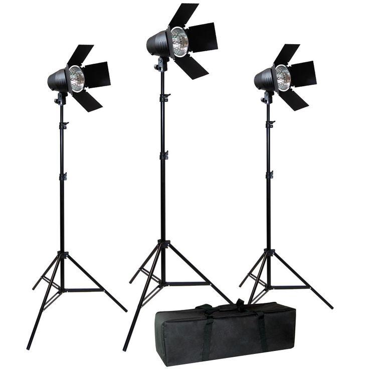 Video Photography Studio Film 3 Barndoor Tungsten Film Video Lighting Kit Case #JuliusStudio