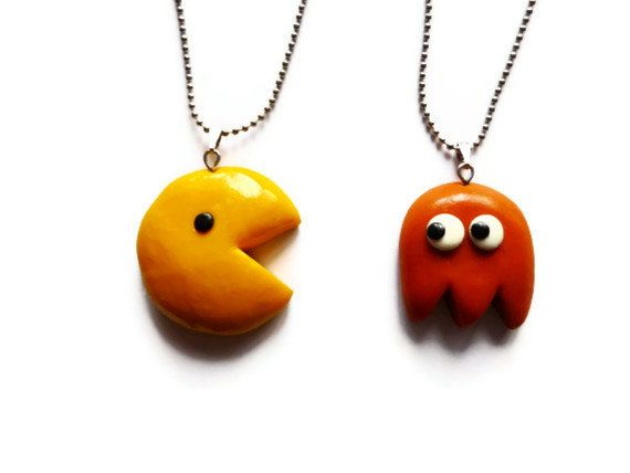 Pacman Best Friends Necklace  BFF Necklace Set  by CoffeeDesign, $24.00