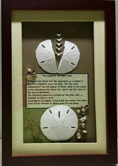 "Legend of the Sand Dollar Framed Shadow Box Artist Purchase 9"" X 13"" Wood"