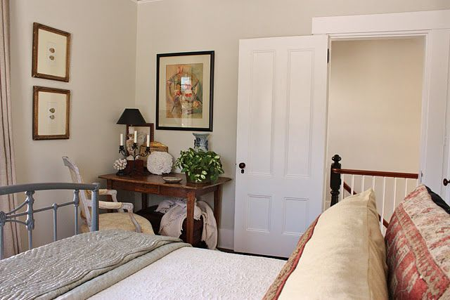 Benjamin Moore.   The walls areOvercast (OC-43),which is a muted green/gray/puttyin Eggshell finish.   The trim isWhite Dove in Latex Satin Impervo.   The ceiling is White Dove in Pearl finish.