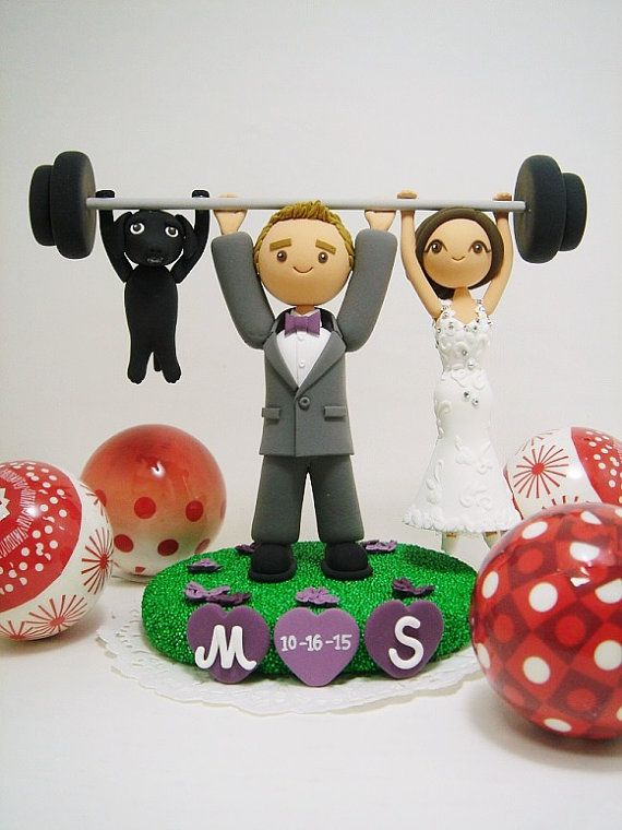 Weight lifting custom wedding cake topper with the by Clayphory