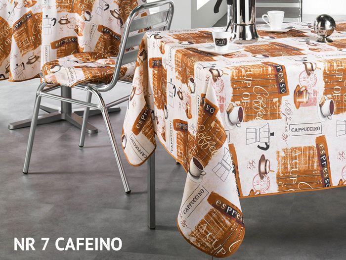Obrus biało beżowy dekoracyjny na stół z motywem kawowym