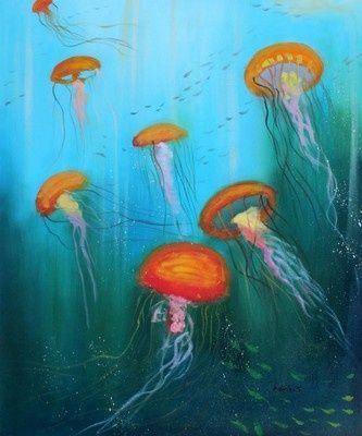 Quot Seven Jellyfish Quot Oil Paintings On Canvas 20x24 Quot Abstract