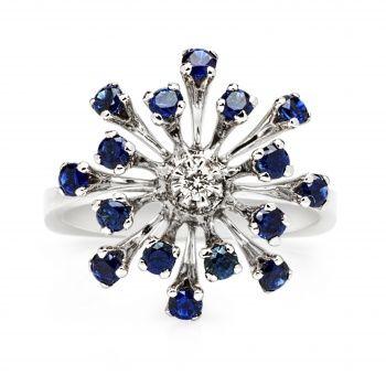 Авторское кольцо из белого золота с сапфирами и бриллиантом
