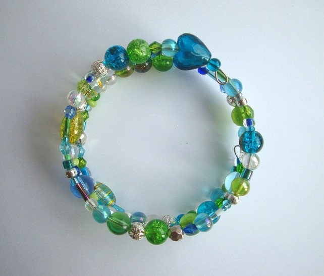 Memory Wire Bracelet in blues and greens £6.95