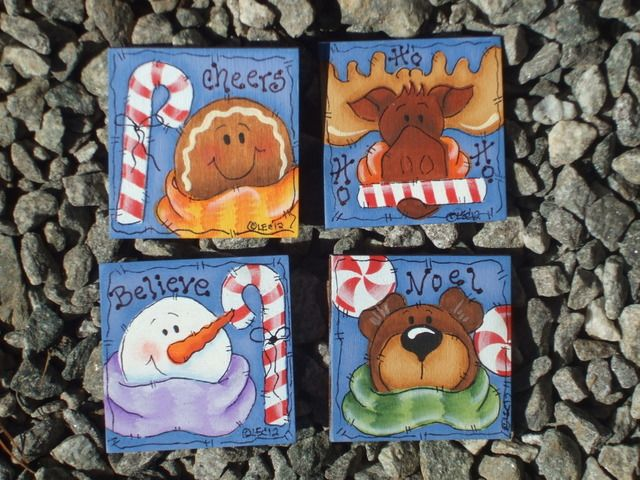 Christmas Pin Set-Christmas, holidays, decorative painting, patterns,bear, moose,gingerbread, snowman, Christmas pins