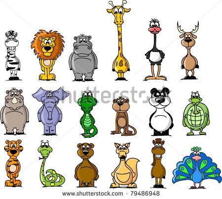 Big set of various cartoon animals