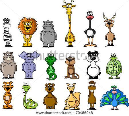 Big set of various cartoon animals