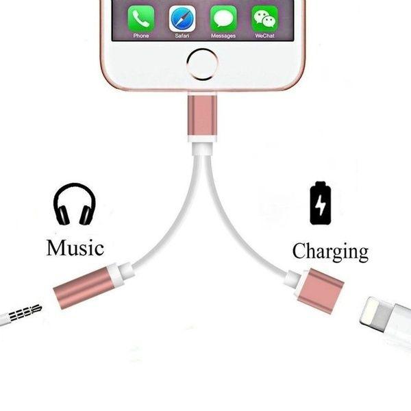 2 In 1 For Apple Lightning Audio Converter 3 5mm Audio Headphone Jack Adapter Play Music For Iphone 7 Plus For Iphone 8 Plus X Cute Audio Headphones Iphone Headphones Iphone Earphones