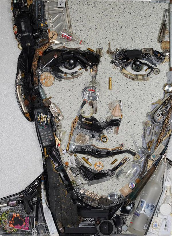 Image result for mosaic portraits made of rubbish
