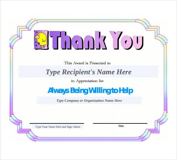 11 Thank You Certificate Templates Certificate Templates Award
