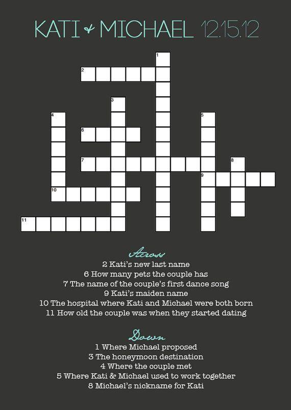 Ein Hochzeit oder Brautpaar-Kreuzworträtzel ist auch einen kreative Idee für einen Hochzeitszeitung