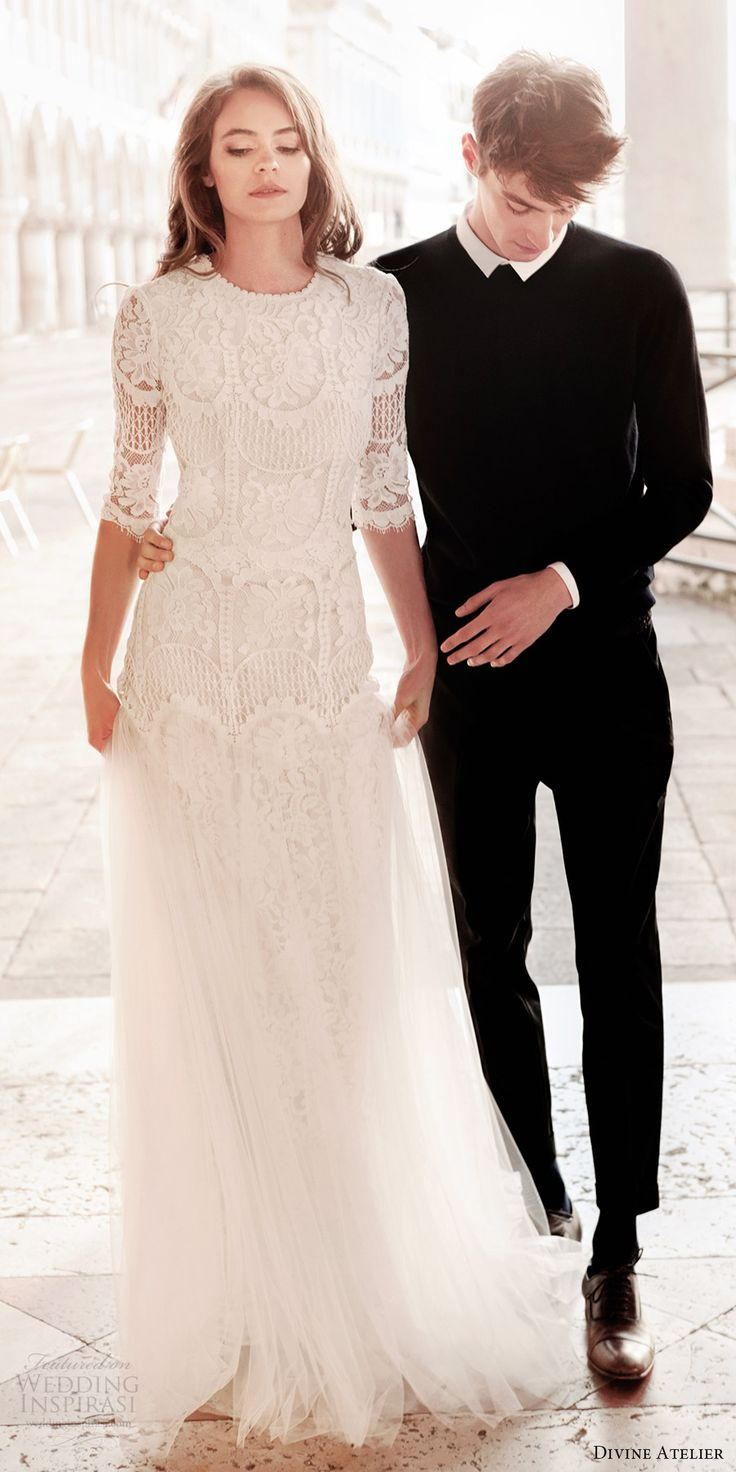divine atelier 2017 bridal half sleeves round jewel neck heavily embellished bodice tulle skirt drop waist a  line wedding dress open back (unnamed06) fv