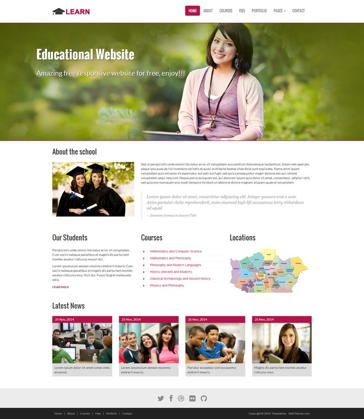 #Bootstrap #FreeResponsiveWebsites #ResponsiveTemplates #HTML5Templates #FreeWeb #Responsive #webthemez #mobileWebsite #freeWebsite #HTML5 LEARN is an HTML5 fully Responsive site template suitable for schools, colleges, Educational Institutes, Workshop and learning sites. It based on Bootstrap 3 and our theme is easy to customize and you can easily adapted and used for variety of similar niche websites.