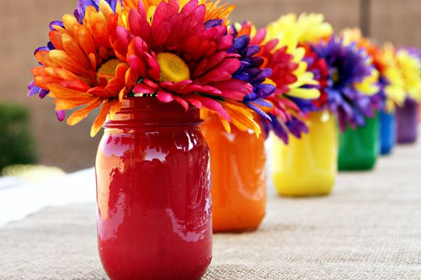 Love these centerpieces at a Rainbow Breakfast Party found via Kara's Party Ideas | KarasPartyIdeas.com #rainbow #breakfast #party