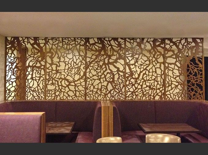 Wood laser cut tree screen