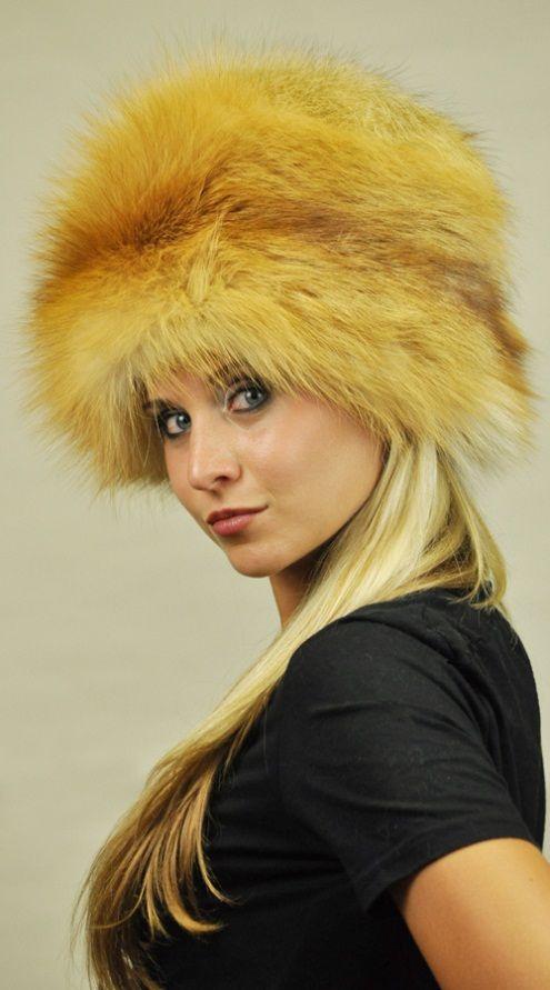 Cappello volpe golden naturale  www.amifur.it
