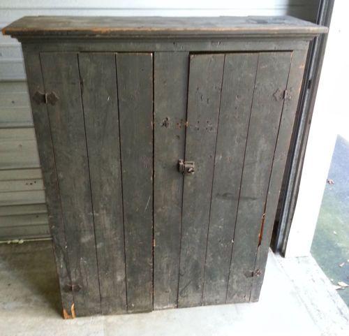 Antique Primitive 2 Door Colonial Greenish Grey Painted Cupboard with Shelves