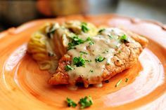 Chicken Piccata w/o the capers... The Trisha Yearwood Chicken Piccata is still my favorite all time recipe for this though