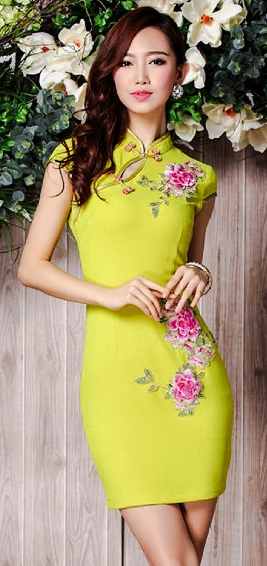 Lime green qipao