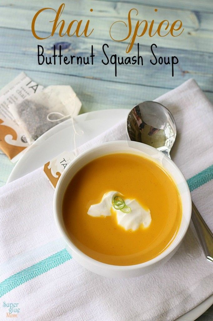 chai spice butternut squash soup recipe from SuperGlueMom This makes me yearn for autumn to hurry up and get here already!