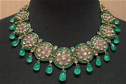 Fine Majarani Style Indian Collar Necklace of Emeralds and Diamonds in 22K Gold Fine Jewelry from India Moghul Style Diamond Jewelry Indian ...